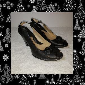 Born Crown Black Leather Peeptoe Slingbacks 8.5